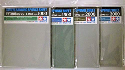 タミヤ研磨スポンジシート ピカピカ仕上げタイプ 4種セット (#1000、#1500、#2000、#3000) セット