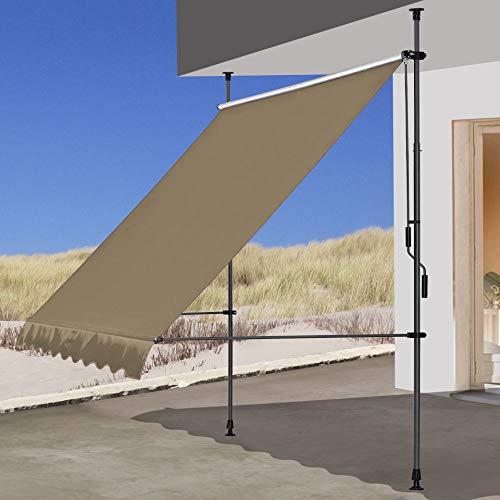 QUICK STAR Klemmmarkise 250x130cm Beige Balkonmarkise Sonnenschutz Terrassenüberdachung Höhenverstellbar von 200-290cm Markise Balkon ohne Bohren