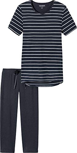 Schiesser Damen Zweiteiliger Schlafanzug, Blau (Gestreift Nachtblau 804), 46 (Herstellergröße: 046)