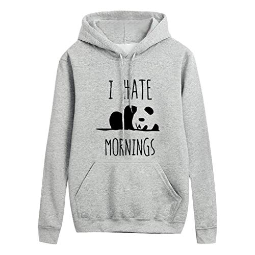 Damen Sweatshirt Kolylong® Frauen Kapuzenpullover I Hate Mornings Panda Druck Cute Novelty Hooded Sweatshirt Hoodie Basic Pullover mit Tasche und Kordelzug Freizeit Casual Top Pulli Langarmshirt