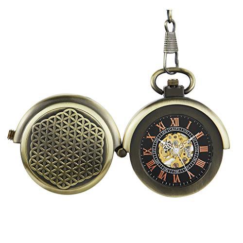 Gorben Mechanische Taschenuhr für Plattenspieler, antiker Handaufzug mit Kette, hohles Skelett-Uhrwerk, Geschenkbox