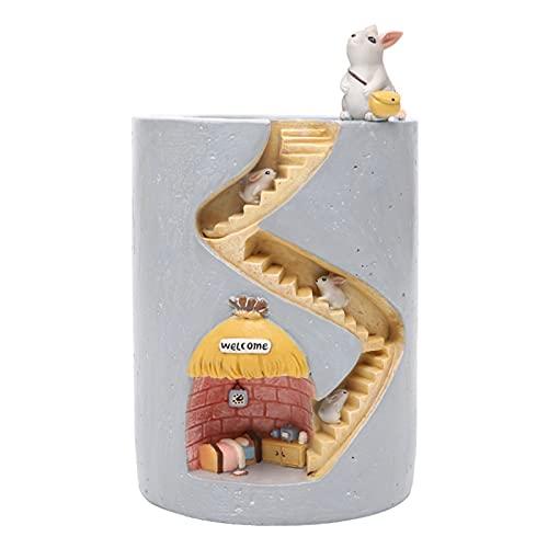 AchidistviQ Maceta De Maceta De Conejo De Dibujos Animados Maceta De Maceta con Forma De Animal Lindo Maceta Bonsai Trough Box Pluma Creativa Portalápices para Niños Niños Niñas Regalo Conejo