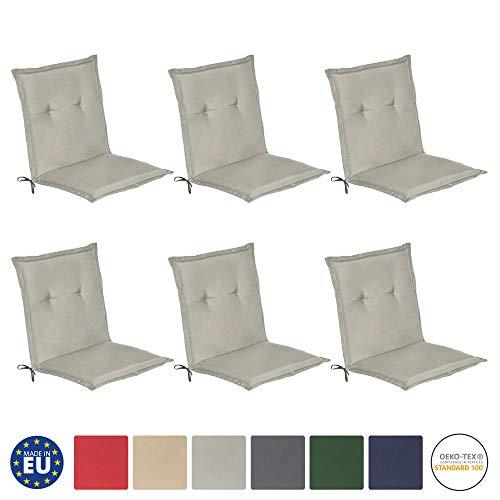 Beautissu Loft NL - Set de 6 Cojines para sillas de balcón o Asiento Exterior con Respaldo Bajo - 100x50x6 cm - Placas compactas de gomaespuma - Gris Claro