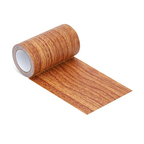 Repair Tape Patch 2.4' X15' Wood Textured Adhesive for Door Floor Table and Chair(Red Oak)