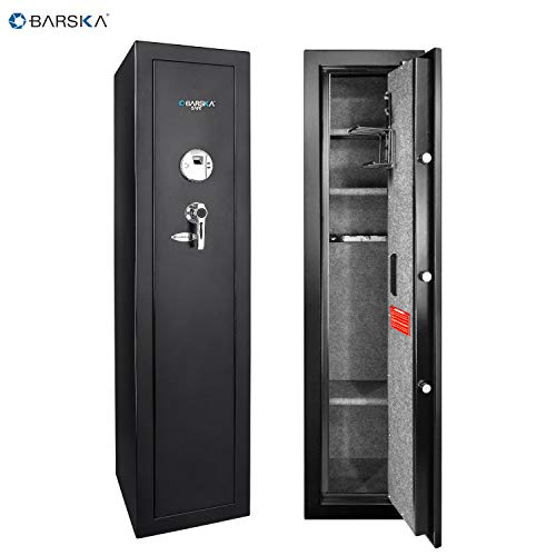 Barska Quick and Easy Large Access Biometric Rifles, Firearms and Long Guns Safe for Home, Removable Shelves, Optional Silent Mode, 5.52 Cubic Feet, Up to 10 Rifles without any accessories