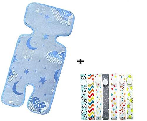 Accesorios para cochecito de bebé: alfombrilla de refrigeración para cochecito de bebé + 7 correas de juguete para bebé, chupete para bebé, juego de forro para cochecito de verano