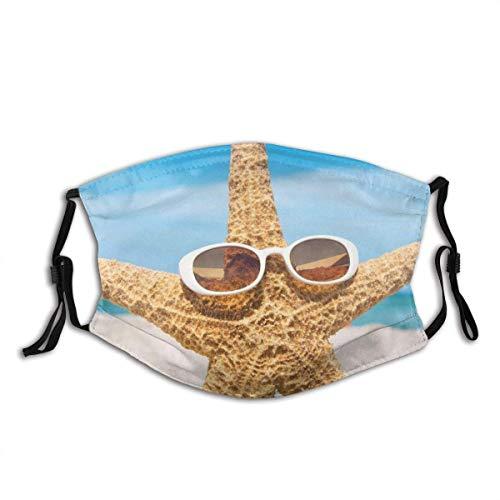 IUBBKI Seestern mit Sonnenbrille am Strand Mundabdeckung Wiederverwendbare waschbare Gesichtsabdeckung für Erwachsene FashionforFace Scarf Bandana mit Zwei Filtern