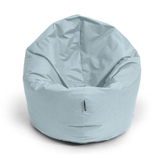 BuBiBag Sitzsack L - XXL 2 in 1 mit Füllung Sitzkissen Topfenform Bodenkissen Kissen Sessel BeanBag (145 cm Durchmesser, grau)