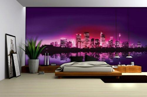 City Skyline at Night Purple Wallpaper Mural