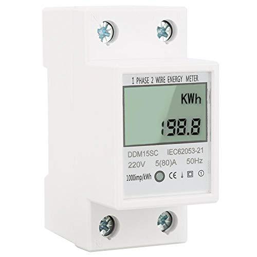 Multifunzione LCD KWh Meter, Contatore elettrico digitale monofase 2 fili 1Phase su guida DIN elettronico KWh Meter 220V 5 (80) A [Classe di efficienza energetica A+]