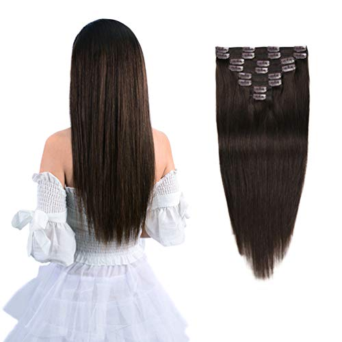 20 Remy Clip in Hair Extensions Human Hair Brown for Women Fashion - Long Silky Straight 8pcs 20clips Real Hair Extensions Clip in Human Hair (20 inch 100g #2 Dark Brown)