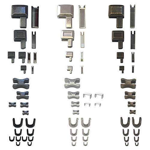 Zipper Repair Kit Metal Head Sliders Retainer Insertion Pin(3 Colors 4 Sizes) 13 Sets Zipper Fix Top Stop Plug, Repair Down Zipper Bottom Stopper for Zipper Repair Replacement (Size 10/8/5/3)