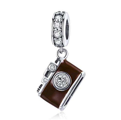 Authentic 925 Sterling Silver Camera Memory Charm Beads I Love to Travel Charms for Bracelet & Necklace (A)
