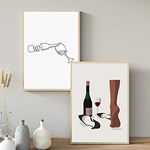 LZASMMVP Vino Abstracto Dibujo de una línea Impresiones de Arte Cartel Minimalista en Blanco y Negro Barra de Cocina decoración de Pared Lienzo Pintura Cuadros 60x90cmx2 Piezas sin Marco