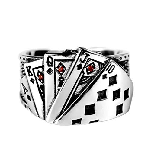 Edary Anillo clásico de tarjetas de póquer de plata con anillo abierto ajustable para mujeres y niñas