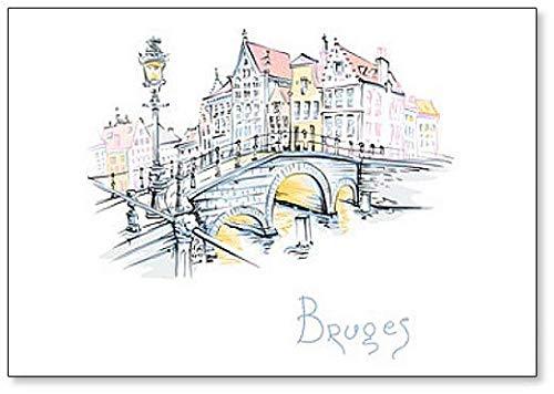 Ilustración de Brujas, Puente con hermosas casas medievales, Bélgica clásico imán para nevera