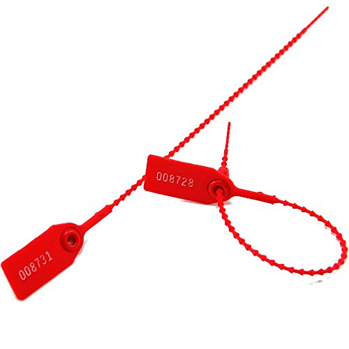 Leadseals(R) 1000 Plastic Tamper Seals, Zip Ties for Fire Extinguishers Pull Tite Security Tags Numbered Disposable Self-Locking Tie 250mm Length (Red)