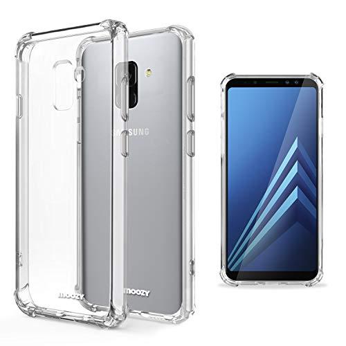 Moozy Funda Silicona Antigolpes para Samsung A8 2018 - Transparente Crystal Clear TPU Case Cover Flexible