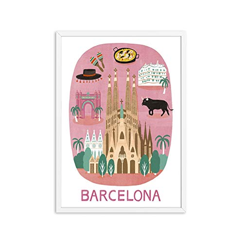 GKMM HD Print Vintage Art Painting Dibujos animados Sydney Retro Pósters e impresiones Travel Cities Paisaje Wall Art Foto Dormitorio Hogar Deco 20x28in Sin Marco