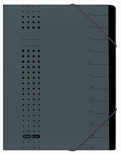 ELBA 400001032 Ordnungsmappe chic 5er Pack A4 12 Fächer mit Blankotaben aus Karton in anthrazit