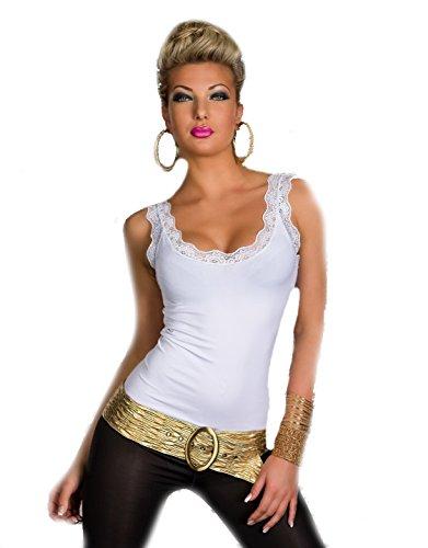Fashion4Young Damen Träger-Top Spitze Shirt verfügbar in vielen Farben (S/M 34/36, Weiß)