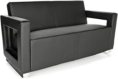 "Distinct Faux Leather Modern Reception Sofa Dimensions: 59""W x 30""D x 31""H Seat Dimensions: 51""Wx19.50""Dx17""H Weight: 73 lbs. Black Faux Leather/Chrome Sled Base"