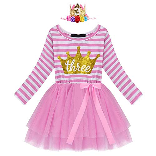 IBTOM CASTLE Toddler Flower Girl Dress Birthday Princess Pageant Winter Long Sleeve Tutu Party Dresses Wedding Formal Tutu Evening Gown for Baby Girls 1-3 Years Pink Three+Crown (2pcs) One Size