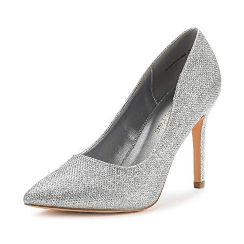 DREAM PAIRS Women's Silver Glitter High Heel Pump Shoes - 6.5 M US