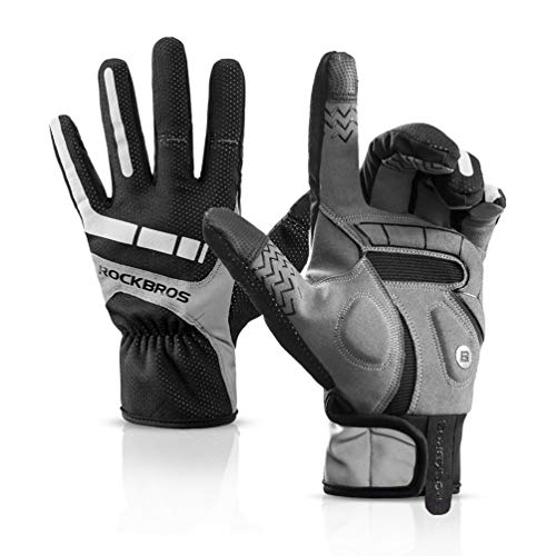 ROCKBROS Bike Gloves Men Full Finger Cycling Gloves Spring-Winter Mountain Bike Gloves Cold Weather Thermal Windproof Biking Gloves