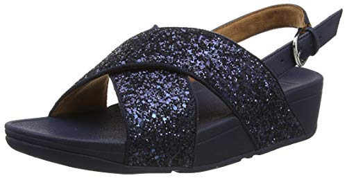 Fitflop Damen lulu Back-Strap Kunstleder-Glitter Riemensandaletten Sandalen, Blau (Midnight Navy 399), 38 EU
