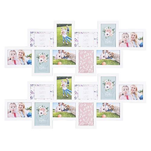 WOLTU BR9915ws-2 Bilderrahmen 2er Set Wandgalerie Kunststoff Bilderrahmen Bildergalerie zum Aufhängen, Foto Rahmen Collage für 10 Fotos, 10x15cm, weiß