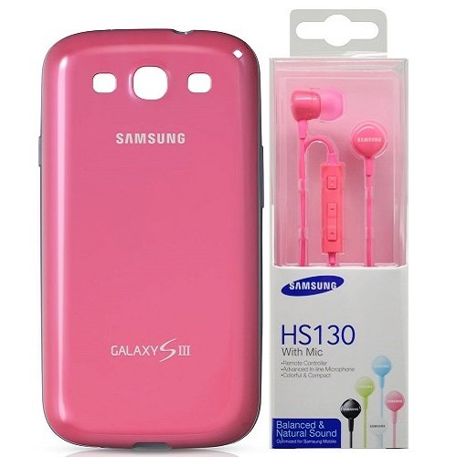 PROTECTIVE COVER ORIGINALE SAMSUNG GT-I9300 GALAXY S3 INCLUSO AURICOLARE HS130 PINK IN BLISTER