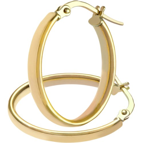 Citerna Damen-Ohrringe Creolen 9 Karat ovale gewölbte Röhren edle 375 Gelbgold 2, 2 cm AR017Y