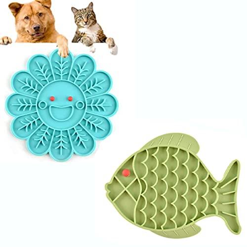 LPWCAWL 2 Pcs Dog Lick Pad,Lenta Alimentación Y Distracción De Perros,Alfombrilla De Silicona para Comida Lenta,Bandeja De Comida para Gatos Antideslizante