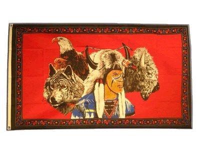 Flaggenfritze Fahne/Flagge Indianer mit Adler und Wolf + gratis Sticker