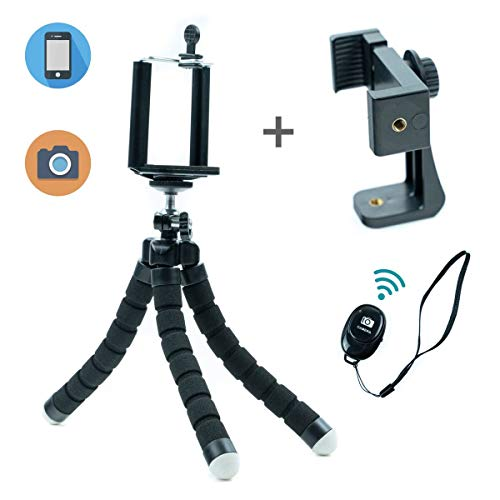 Phone Tripod | Adjustable Stand Holder with Wireless Remote and 2pcs 360°Universal Clips | Portable Gorilla Tripod Stand for Travel and Selfies | Tripod for Phone with iPhone/Android Samsung (Black)