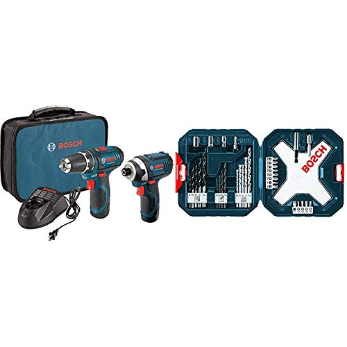Bosch Power Tools Combo Kit CLPK22-120 - 12-Volt Cordless Tool Set (Drill/Driver and Impact Driver) with 2 Batteries, Charger and Case & MS4034 34-Piece Drill and Drive Bit Set