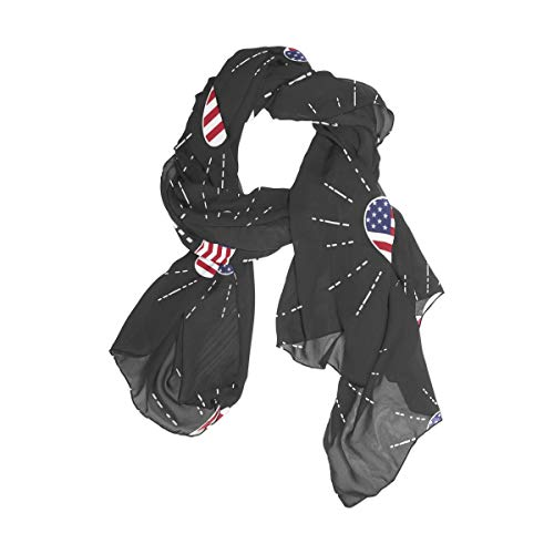 Rootti - Bufanda de gasa para mujer, diseño de bandera de Estados Unidos, elegante, suave, de poliéster transparente, de gran tamaño para niñas y mujeres