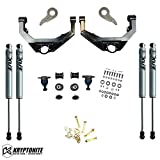 Kryptonite Stage 3 Leveling Kit with Fox Shocks & Cam Bolt Kit Compatible with 2001-2010 Chevy/GMC 2500HD 3500HD KR10STAGE3FOX+CAM