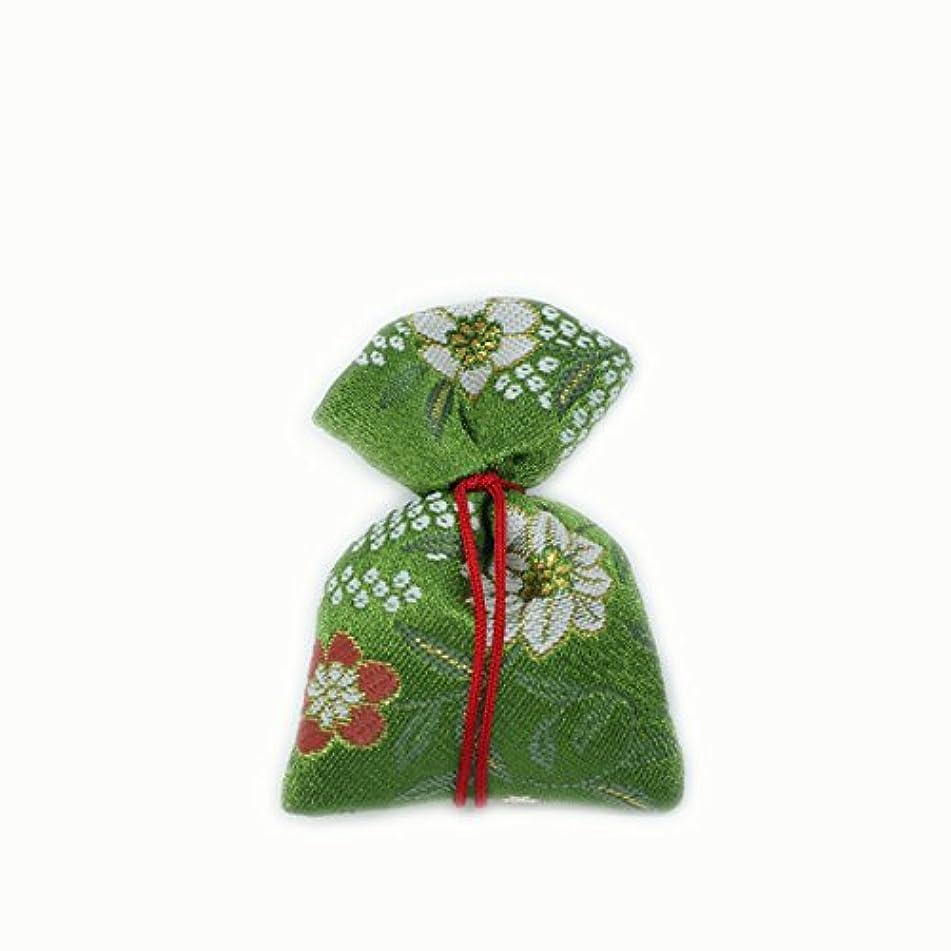 羽インストールポータブル匂袋 巾着 金襴中 緑系