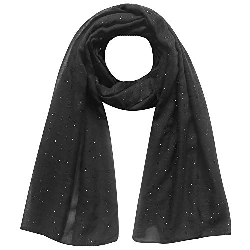 Lina & Lily Solid Shimmer Sparkle Glitters Sheer Maxi Shawl Scarf Hijab (#2 BLACK)