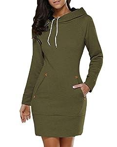 Women's Long Sleeve Cotton Slim Fit Midi Hoodie Dress Pocket S-5XL