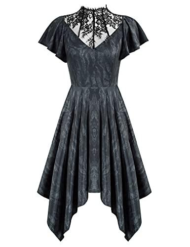Women's Dress Medieval Retro Goth Style Halloween Costume Dresses Black Wavy L