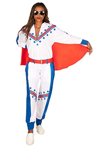 Tipsy Elves' Women's Daredevil Costume - Red White and Blue Stunt Performer Halloween Jumpsuit Size Small