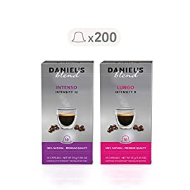 Daniel's Blend Coffee Capsules Compatible with Nespresso Machines Assortment (200 Capsules)