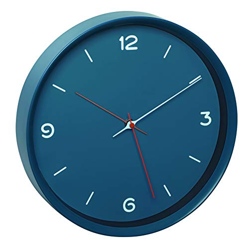 TFA Dostmann Analoge Wanduhr, 60.3056.06, geräuscharmes Sweep-Uhrwerk, Quarzuhr, Glasabdeckung, Petrol-blau, (L) 309 x (B) 50 x (H) 309 mm