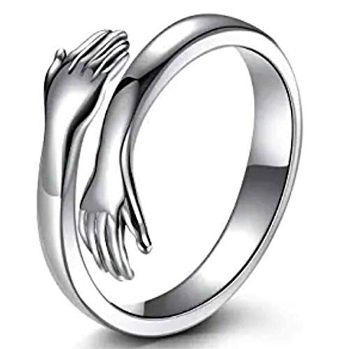 Goosuny Hug Ring Silver Hug Rings for Women Girls Silver Hugging Hands Open Adjustable Ring Jewelry Hug Hands Women Men Rings Couples Valentine's Day Lover Wedding Ring Jewelry