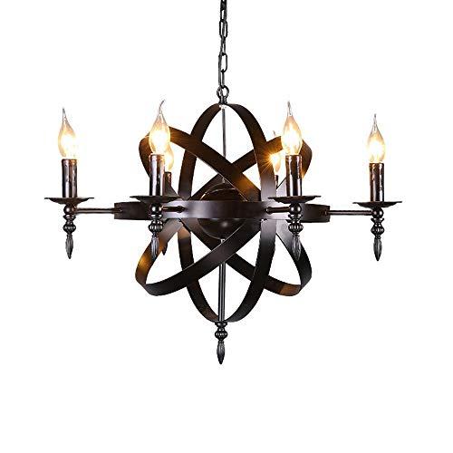 Castle Style Mittelalterliche Kerze Kronleuchter Deckenpendelleuchte Schwarze Schmiedeeisen Massive Größe für ein Wohnzimmer Flur oder Landhaus Kronleuchter Durchmesser 65 cm 6 Lampenköpfe XYJGWDD