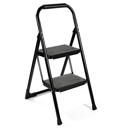 Step Ladder EFFIELER,2 Step Stool Ergonomic Folding Step Stool with Wide Anti-Slip Pedal 370 lbs Sturdy Step Stool for Adults Multi-Use for Household, Kitchen,Office Step Ladder Stool (Matte Black)
