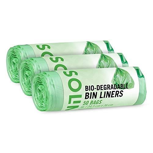Marca Amazon - Solimo Bolsas de basura biodegradables 6 litros 3 x 50 uds.